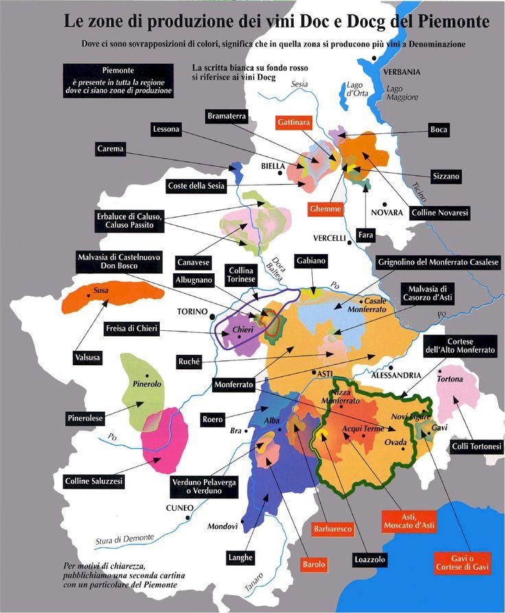 Piemonte wine map