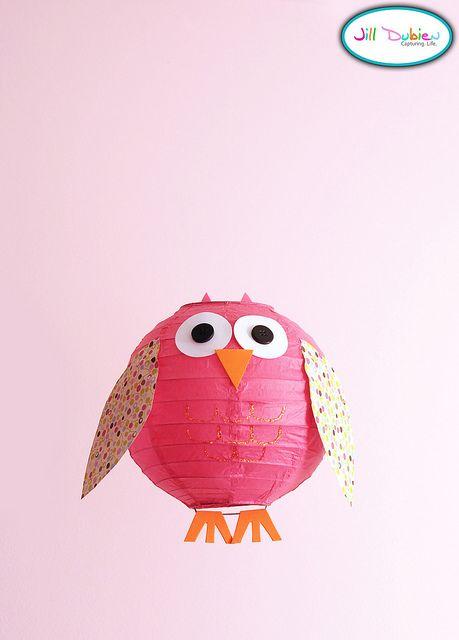 OWLS for Kids Bedroom: Ikea Paper lamp and scrapbook paper