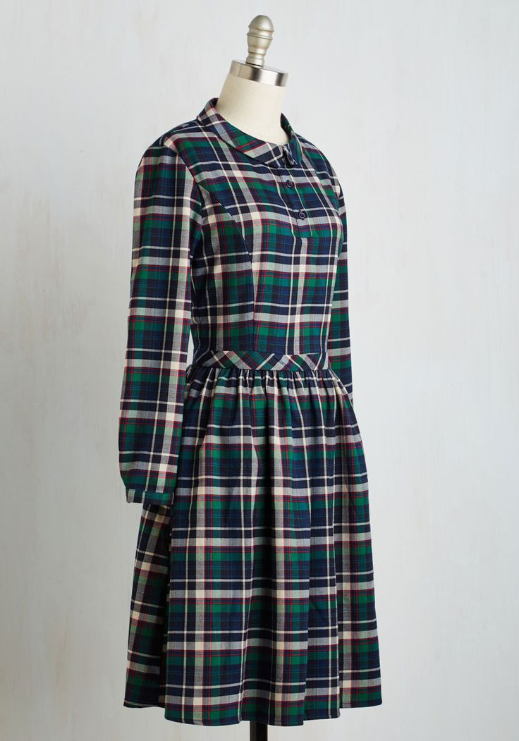 Authorship Anniversary Dress. Your pals arranged a gathering to celebrate your publication, and you excitedly don this collared A-line by Spanish brand Kling for the occasion! #multi #modcloth