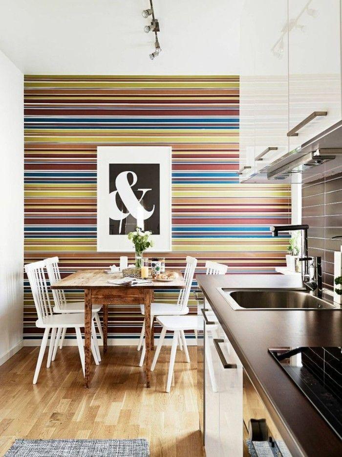 Wandgestaltung Ideen Küche Tapete Streifen Farbig Frisch