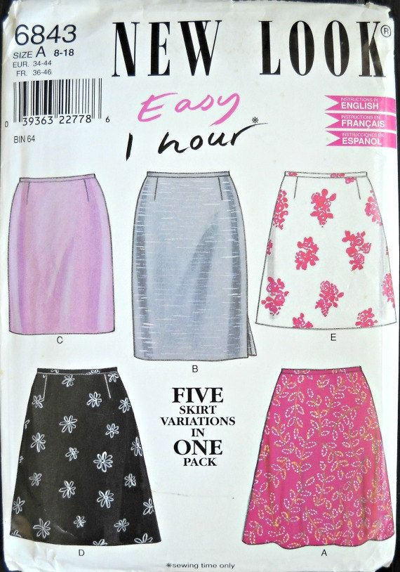 New Look 6843 Women's Skirt Pattern Sizes 8  by CurlicueCreations, $4.50