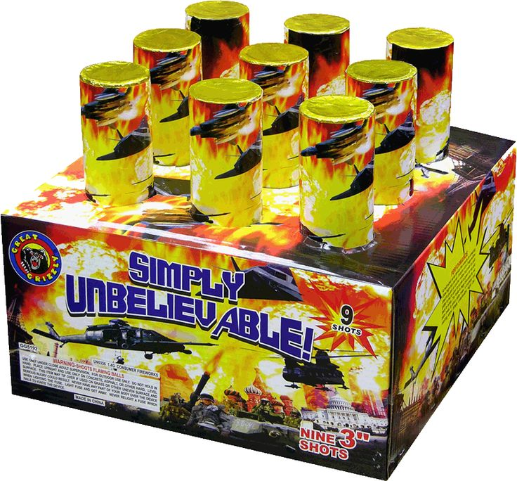 "Simply Unbelievable 9 Shot 3"" - North Central Industries - www.greatgrizzly.com - MUNCIE INDIANA WHOLESALE FIREWORKS •Category: 2in 3in 4in Tubes •Item Number: 1539 •Package Contents: 2 •Dimensions: 16 x 13 x 16 •Weight: 38lbs >Brand Name •Great Grizzly  Start with a huge willow shell to purple to another willow to green to gold glitter to red to silver to purple to green to red and back to silver. The finale is huge brocades to red palm trees to silver palm trees. A dramatic and exciting…"