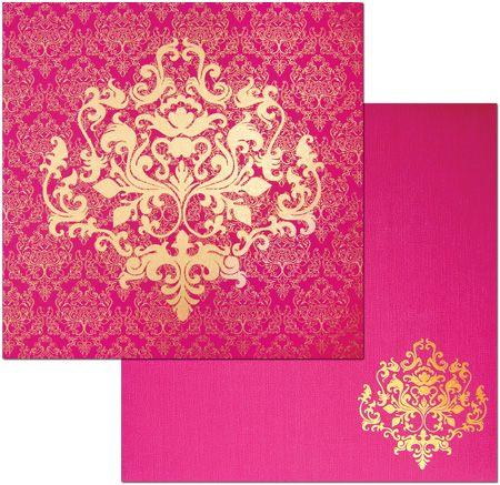 Vibrant pink fuchsia wedding card