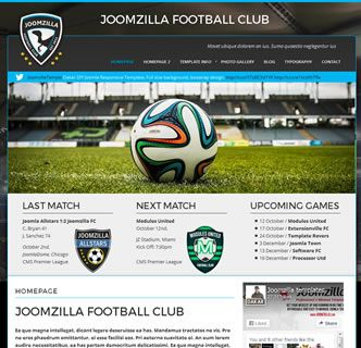 JoomZilla FC, our latest responsive Joomla Template Release. This fantastic Joomla template is perfectly suited to football, soccer or sports clubs. It features useful easy to use tools such as uploading a background image, sponsorship areas, colour and font choose and various social media links.   This template comes with a quickstart package allowing you to create an exact replica of this demo with just a few clicks, so get your local sports club online with this fantastic Joomla template.