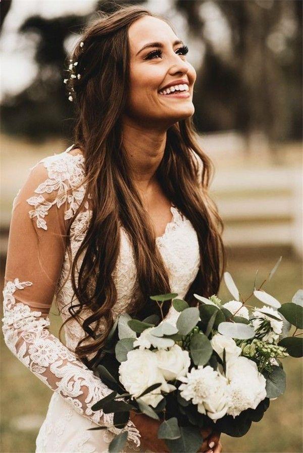 50 attraktive Hochzeitsfrisuren für langes Haar #Hochzeit #Frisuren #Lebensstil   – Wedding Ideas