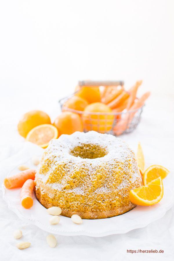 Orange Karottenkuchen mit Mandeln – super saftig