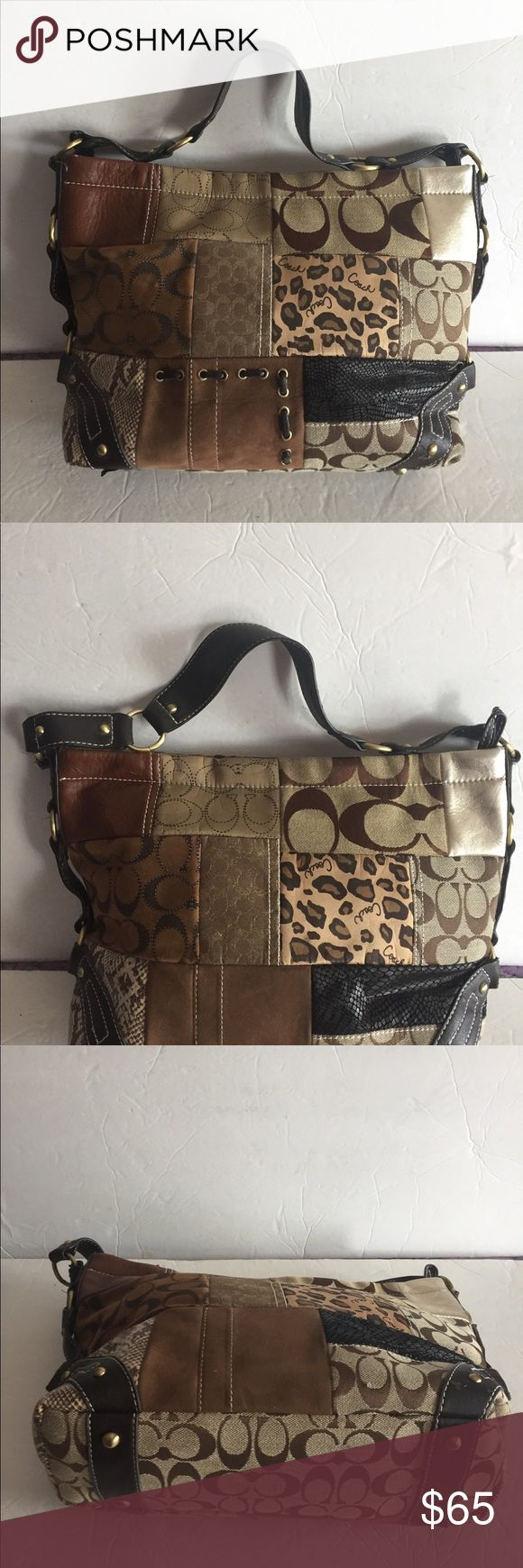 Coach Large Brown Purse Pre owned. Nice clean Coach  Purse. Brown and tan Coach Bags Satchels