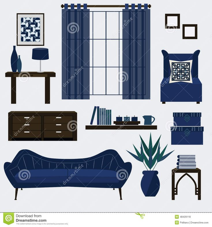 Classic Navy And Black Family Room