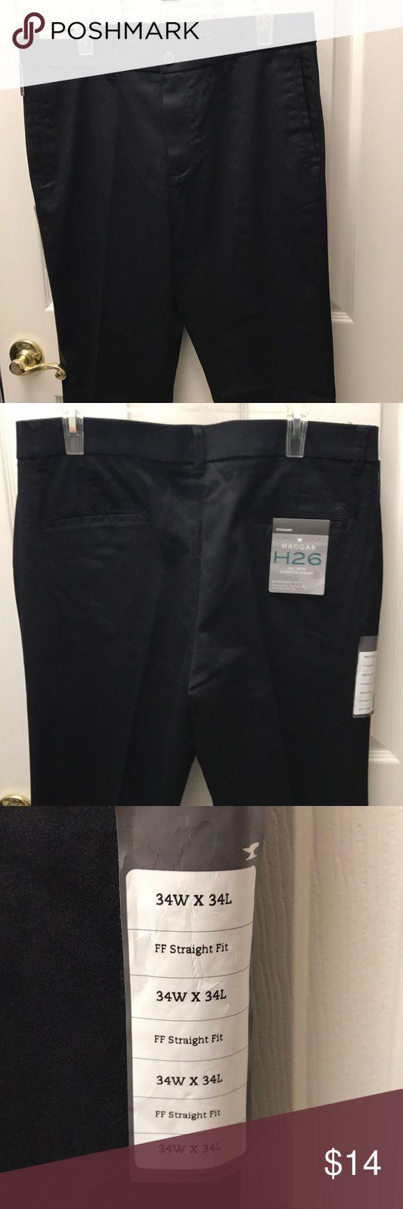 Men's Haggar  Cotton Dress Pants New Hagar No Iron Stretch Khaki for men in size 34X34 Haggar Pants Chinos & Khakis