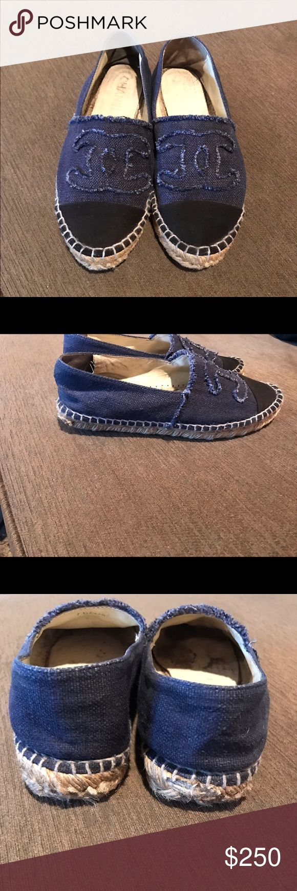 Chanel espadrilles Chanel Espadrilles authentic denim with black toe size37 these have wear on sole and bottom edge  as shown in pics and a crack on one side on bottom but very good condition on top these are not perfect as price reflects. There still is life in them and also can be taken to a cobbler to be fixed CHANEL Shoes Espadrilles