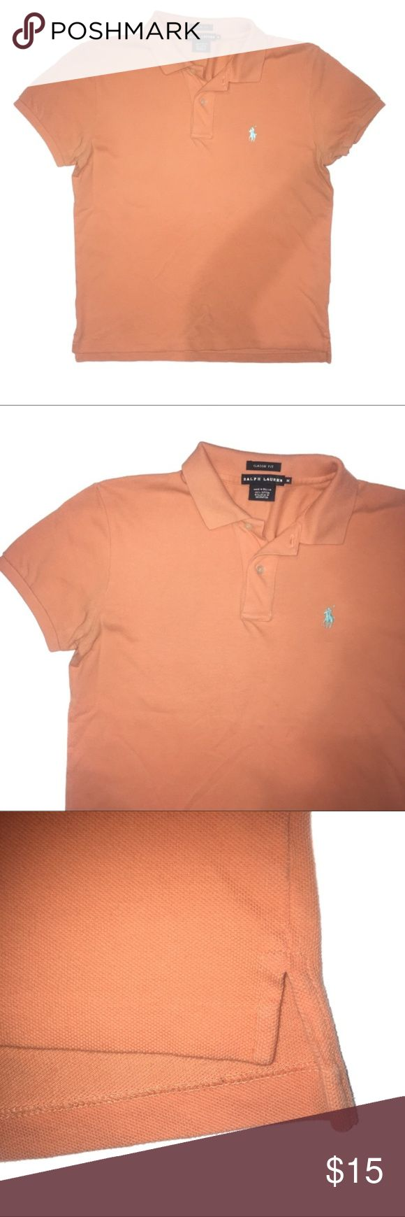 "Ralph Lauren Classic Fit Orange Polo Shirt Ralph Lauren classic fit orange polo shirt. Size medium. Orange with blue emblem. Has ribbed cuffs and collar. Slits up the sides. Slight discolor on armpits. 100% cotton. 38"" chest. 25.5"" length. Ralph Lauren Black Label Shirts Polos"
