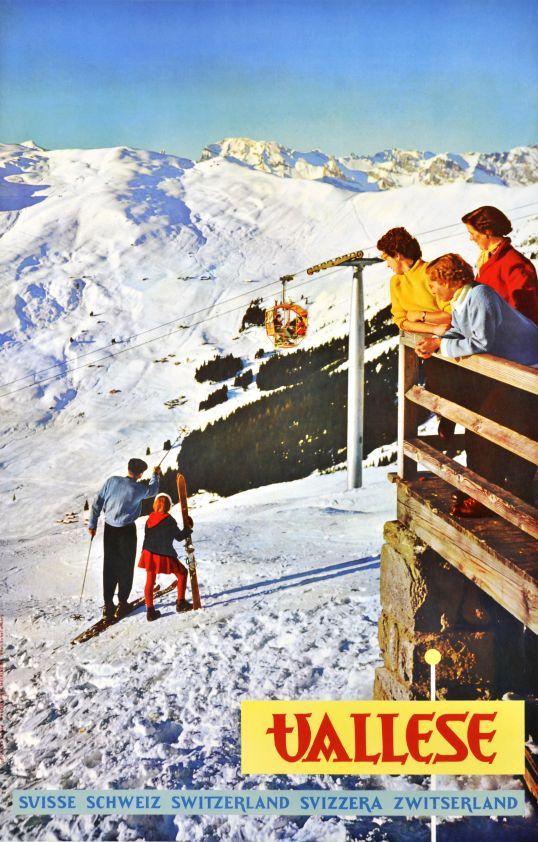 Verbier, Vallese (Valais) (by Schellenberg Hans Heinrich / 1957) Photo-montage poster printed for the Travel office of Wallis in Switzerland showing the skiing trails of Verbier.This skiing resort was opened in 1948, for that reason they are no very old posters about this location. As we know this Photo-montage poster from 1957 is the second one on this Alpin resort.