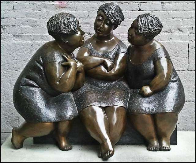 Les chuchoteuses (the Gossipers) by Rose-Aimée Bélanger Sculpture in Old Montreal
