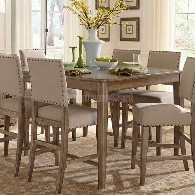 Weatherford Gathering Table 5 Piece Counter Height Dining Set In Weathered Gray Finish By Liberty Furniture