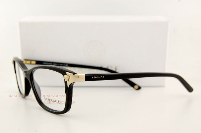 8c07abacb44e9 Brand New VERSACE Eyeglasses Frames 3156 GB1 BLACK for Women 100% Authentic