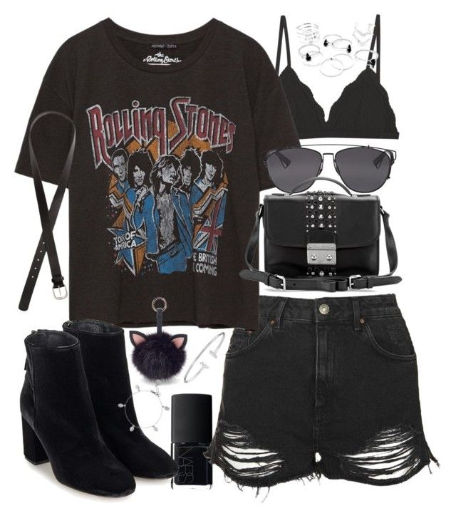 """""""outfit for summer with shorts and a band tee"""" by ferned ❤ liked on Polyvore featuring NARS Cosmetics, Topshop, Cosabella, H&M, Christian Dior, Miu Miu, Under One Sky and Chupi"""