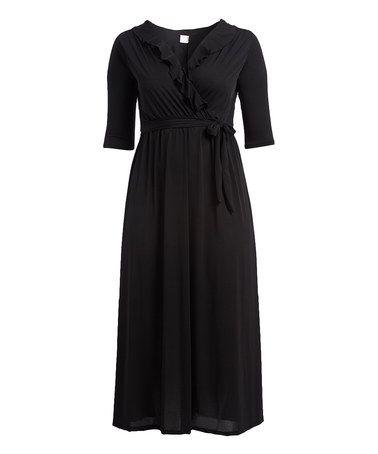 Black Ruffle Surplice Dress - Plus #zulily #zulilyfinds
