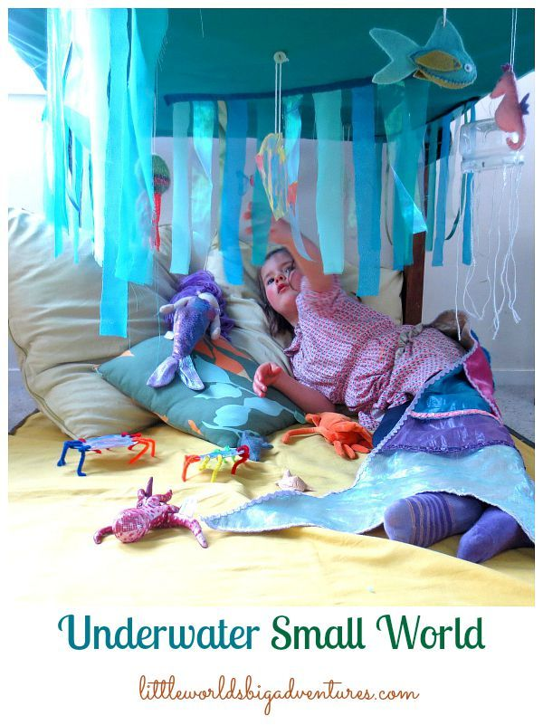 How to Create an Underwater Small World under the Table using a Sheet, Fabric Scraps and Recycled Ocean Crafts   Little Worlds Big Adventures