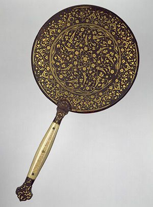 """Mirror with split-leaf palmette design inlaid with gold [Turkey] (1972.24) 
