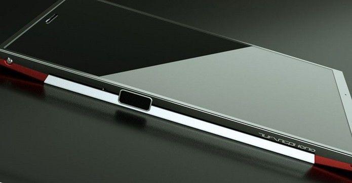 Leitor biomético em lugar incomum, na lateral do aparelho (Foto: Divulgação/Turing Robotics)