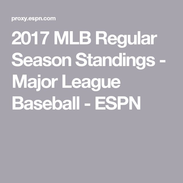 2017 MLB Regular Season Standings - Major League Baseball - ESPN