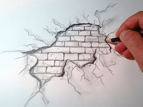 How To Draw A Cracked Brick Wall❤️
