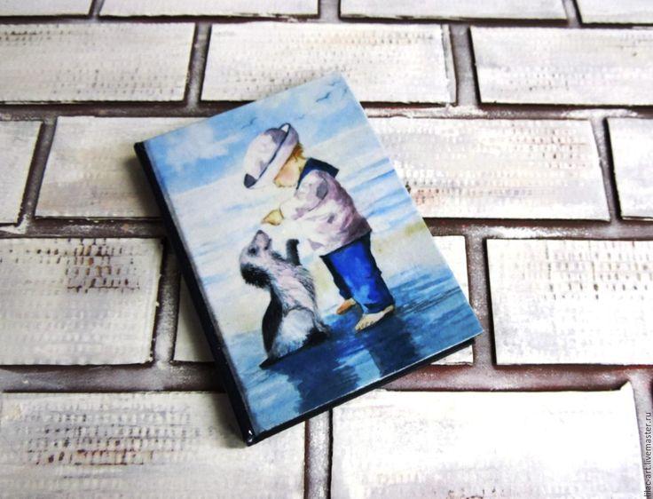 """Купить Ежедневник """"Мальчик с собачкой"""". Не датированный - ежедневник, голубой, морской, у моря, ребенок, мальчик"""