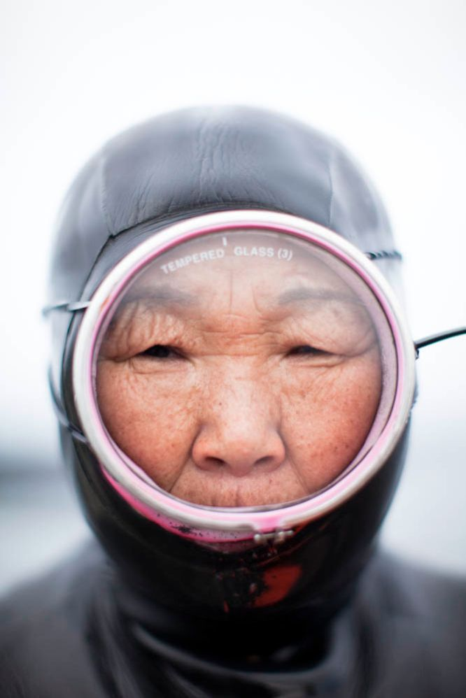 Portraits have stories: Haenyeo (sea women) is century old culture at the risk of dying out due to modernization. Kim Doo-Soon, 64, wears her diving mask and wetsuit. She is from the fishing village of Hado, Jeju South Korea.