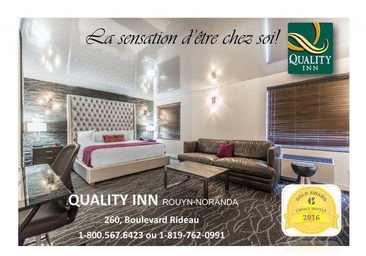 Le Quality Hotel est l'un des hôtels les mieux situés à Rouyn-Noranda. Il s'agit d'un excellent hôtel pour les amoureux du golf, car certains terrains de golf les plus populaires, comme le Club de golf Dallaire et le Club de golf Noranda, sont situés à proximité. Dans le cas des clients qui préfèrent passer du temps de façon plus décontractée, le centre-ville est facilement accessible depuis notre hôtel de Rouyn-Noranda. Il est possible d'y faire les boutiques ou de déguster un bon repas…