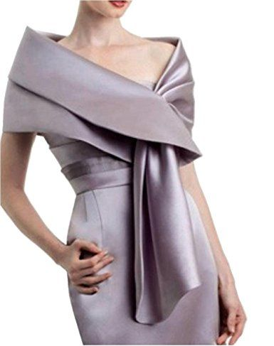 Meet Edge Women's Satin Shawl Wrap For Evening/Wedding Party Silver at Amazon Women's Clothing store: