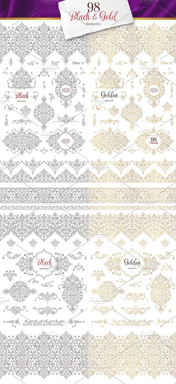 3. Set Of 98 Vector Line Elements. by O'Gold! on @creativemarket