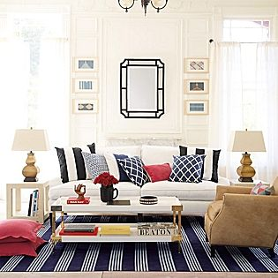 Bright, crisp and happy living space design, Savile Coffee Table – White | Serena & Lily