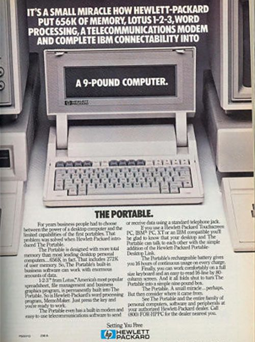 Hewlett Packard 80's laptop ad