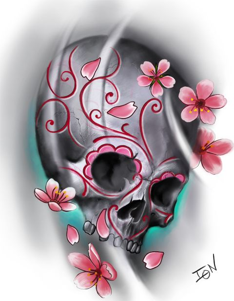 Such a beautiful combination of the sugar skull and the cherry blossoms.