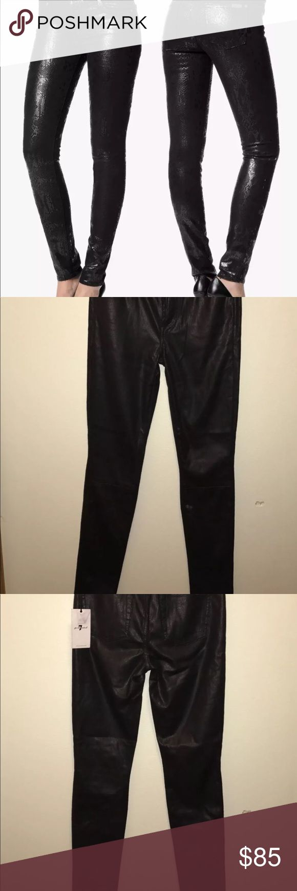 7 for all mankind black skinny Snake print pants New with tags Sz 28 . 7 For All Mankind Pants Skinny