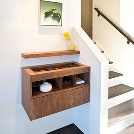 wall cabinet at entry. modern entry by Jennifer Weiss Architecture