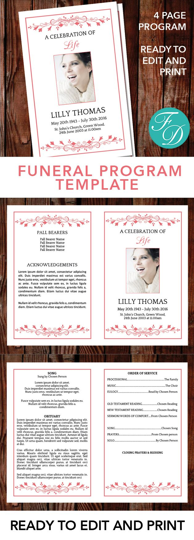 Printable Funeral program ready to edit & print Simply purchase your funeral templates, download, edit with Microsoft Word and print. #obituarytemplate #memorialprogram #funeralprograms #funeraltemplate #printableprogram #celebrationoflife