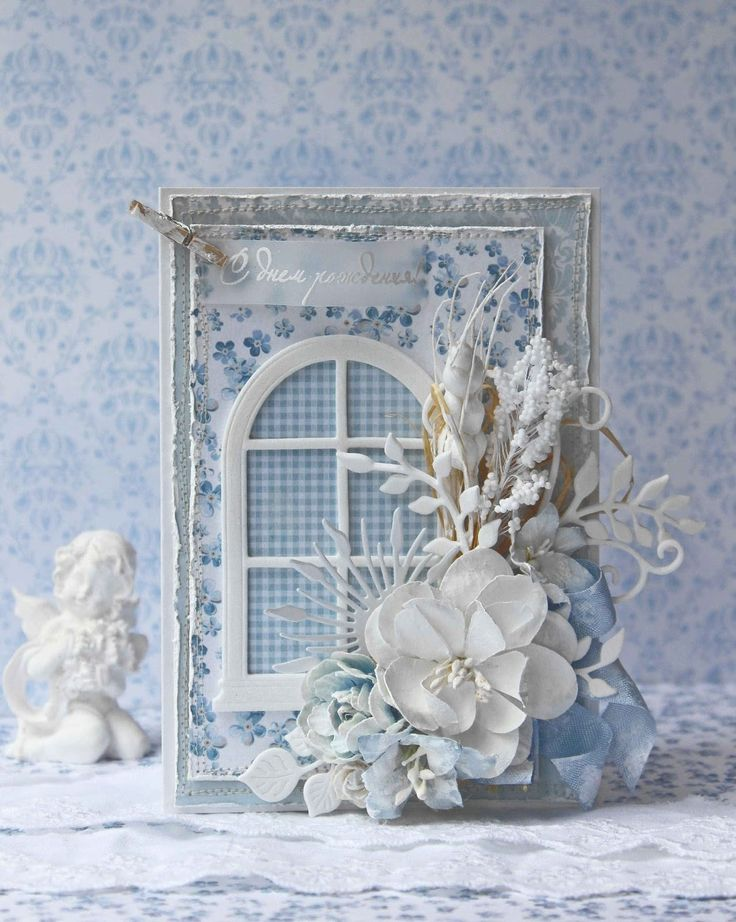 hand crafted card from SkrapTeremok ... shabby chic collage ... blues and white ... die cut window ... patterned papers ... artificial flowers ... display card ... would need to send in a box or hand deliver ...