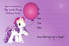 My Little Pony Invitation sample | Invitations Online
