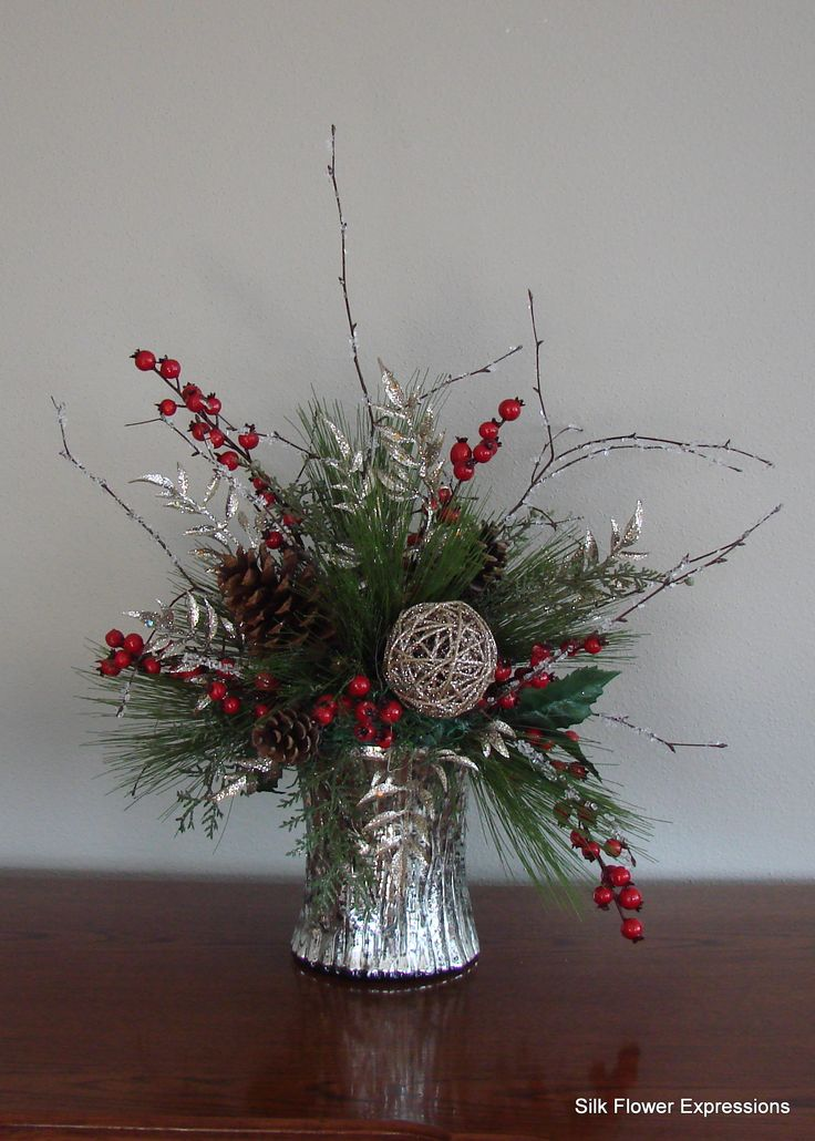 10 best christmas silk flower arrangements images on pinterest from silk flower expressions silver and red holiday arrangement mightylinksfo