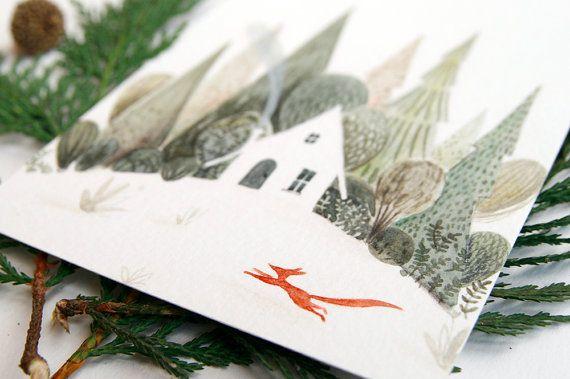 Cartolina per auguri di natale o per le feste invernali, illustrata ad acquerello e stampata su carta 300g Fedrigoni. Insieme alla cartolina viene spedita anche una busta che è disponibile in 2 varianti colore: grigio neutro o crema.  Dimensioni cartolina: 10,5 X 15 cm  Lordine prevede linvio della cartolina con la relativa busta. Altre cartoline e auguri li trovi qui: http://etsy.me/1MplOe3  Per tornare al negozio:http://etsy.me/1SN2k5Z  _________________________________________  Nel caso…