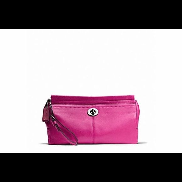 MAKE ME AN OFFER!!! Fuchsia Pebbled Leather Clutch Brand New Clutch! Gorgeous Fuschia/Hot Pink Pebbled Leather Clutch. Coach Bags Clutches & Wristlets