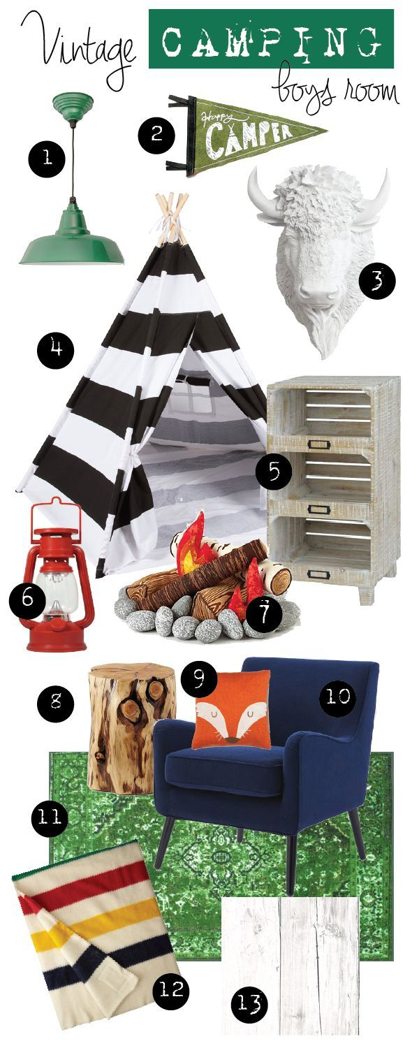 Design Ideas: DIY Vintage Camping Bedroom for Boys by RobbRestyle.com