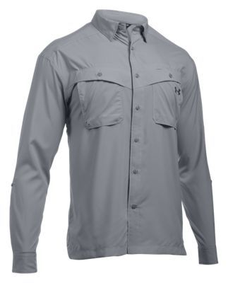 Under Armour Tide Chaser Long-Sleeve Fishing Shirt for Men - Overcast Gray/Rhino Gray - 2XL