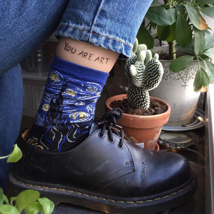 "this is the most art hoe picture i've ever seen (mom jeans and art socks and chunky shoes and a stick-and-poke tattoo and the words ""you are art"" and plants everywhere and cacti)"