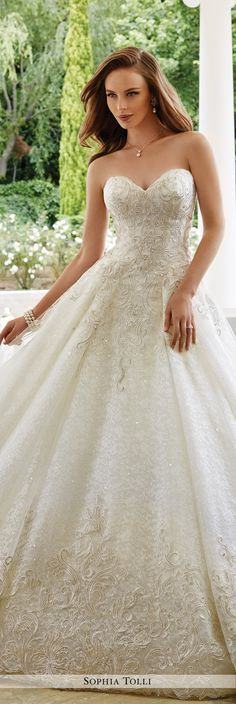 Sophia Tolli Fall 2016 Wedding Gown Collection - Style No. Y21661 Veneto - strapless lace and tulle ball gown wedding dress