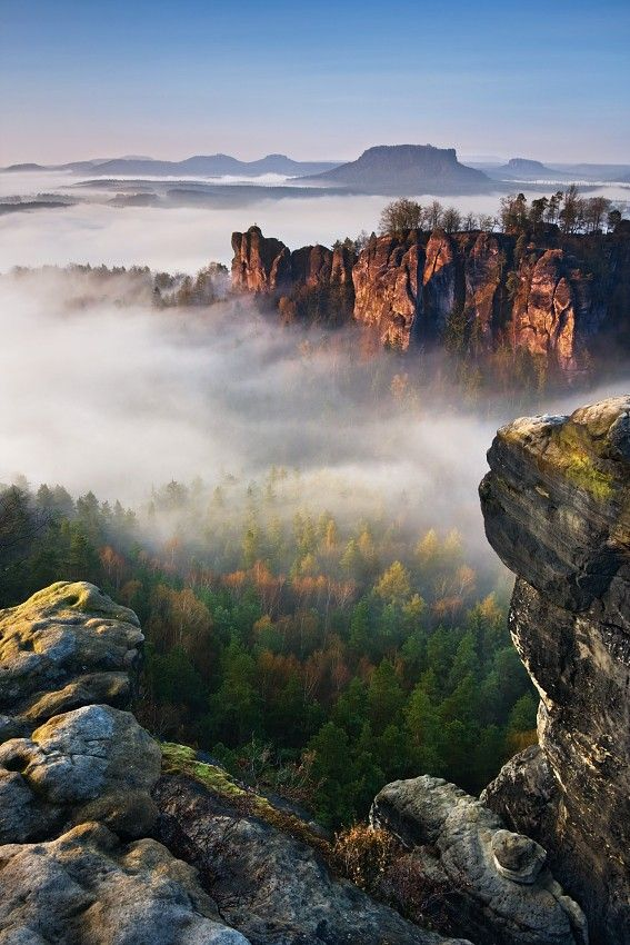 "etherealvistas: "" Foggy morning Bastei (Switzerland) by Daniel Řeřicha "" The Bastei actually is near Rather/Dresden in Sachsen, Eastern Germany close to the Czech border. It's just called ""Saxon..."