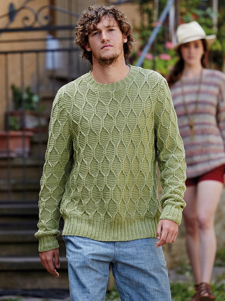 Masotti - Knit this mans crew neck garter stitch cable jumper from Rowan Knitting & Crochet Magazine 57, a design by Martin Storey using Creative Linen (cotton and linen) with long set in sleeves. This knitting pattern has a three star difficulty rating.