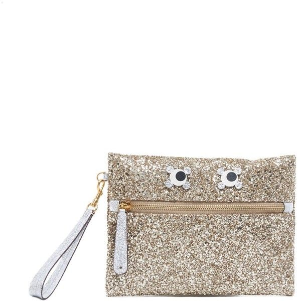 ANYA HINDMARCH 'Eyes' Clutch (€390) ❤ liked on Polyvore featuring bags, handbags, clutches, anya hindmarch, anya hindmarch purse, real leather handbags, anya hindmarch handbags and leather clutches