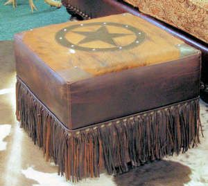 Texas, Western, country, ranch decorations, decor, living room, foot stool